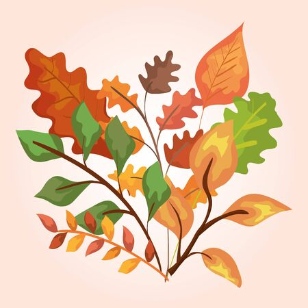 nature branches leaves rustic plants over pink background, vector illustration