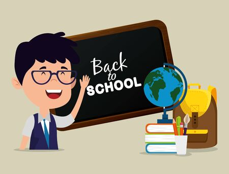 boy student with blackboard and global map with backpack to back to school vector illustration