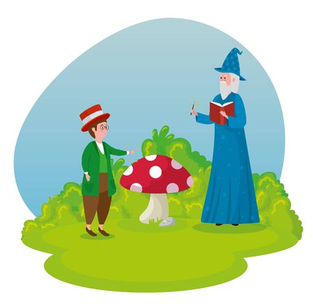 boy magician with old man wizard and book to tale character, vector illustration Ilustrace