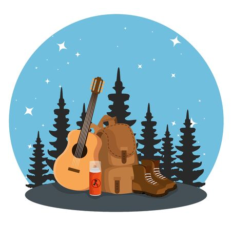 nature pines trees with backpack and guitar to summer adventure vector illustration