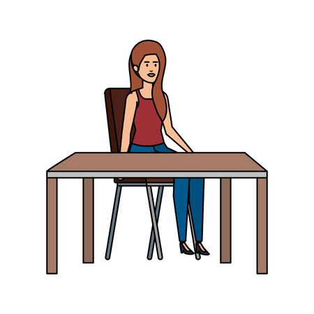 young woman sitting in chair and table vector illustration design Illustration