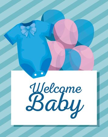 card invitation with pijama and balloons decoration to baby shower vector illustration Illusztráció