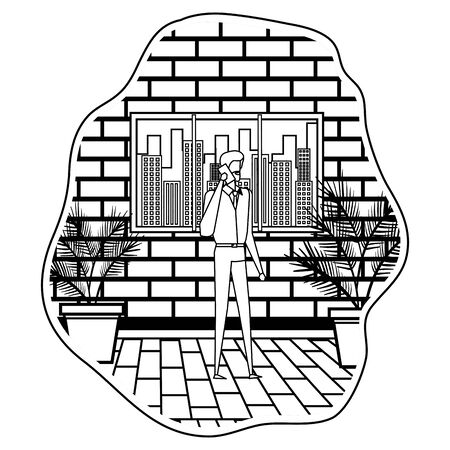 businessman using smartphone on the city vector illustration design