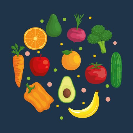 fresh organic vegetables and fruits nutrition to healthy food vector illustration Ilustrace