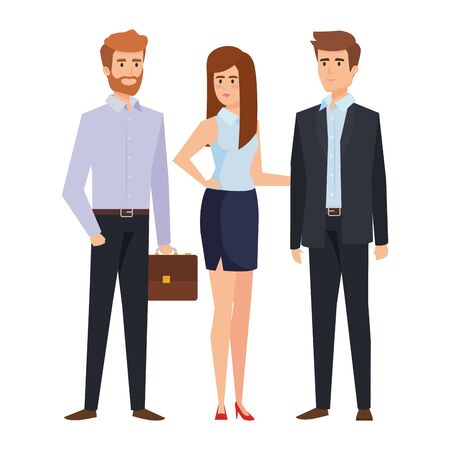 business people with portfolio vector illustration design