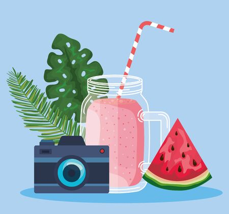 smoothie beverage with watermelon fruit and camera with leaves to summer time vector illustration