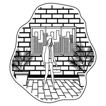 elegant young businessman on the city vector illustration design 일러스트