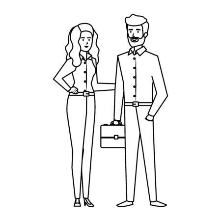 business couple with portfolio vector illustration design Illusztráció