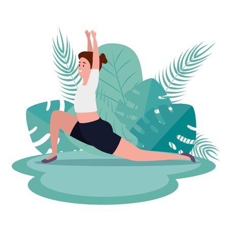 healthy woman practice yoga posture with leaves plants, vecctor illustration