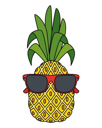 summer fresh fruit pineapple with sunglasses character vector illustration design Illustration
