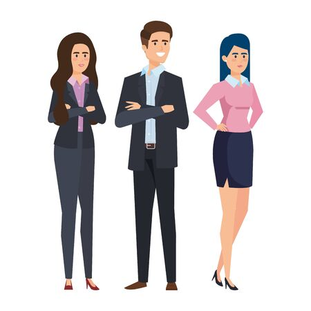 business people teamwork characters vector illustration design