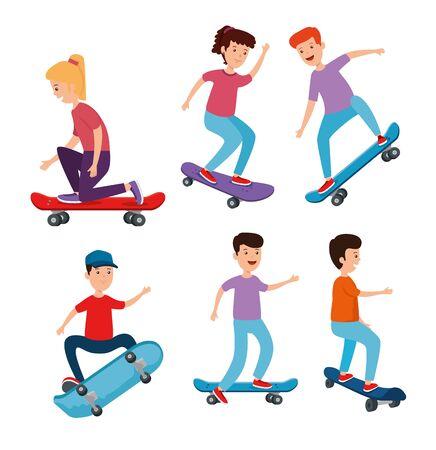 set of girl and boys kids playing skateboard over white background vector illustration