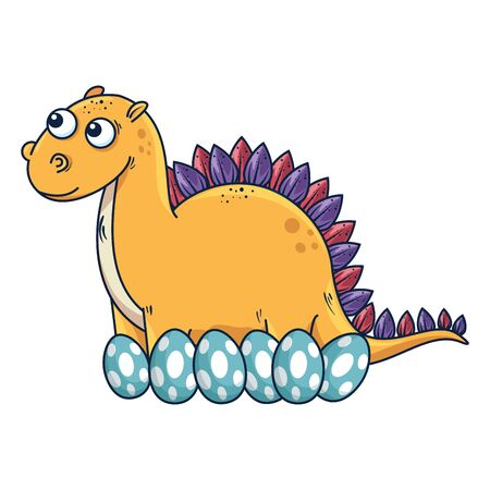 mother diplodocus care of their eggs comic character vector illustration design