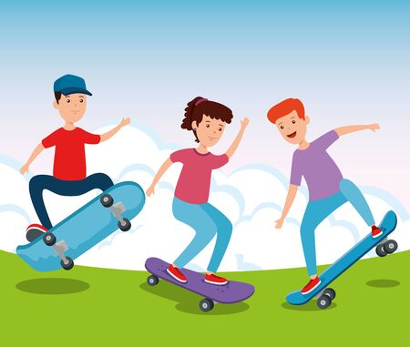 happy girl and boy practing skateboard in the park and estreme sport vector illustration