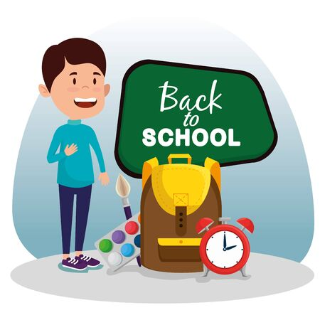 boy with blackboard with watercolor and backpack with clock to back to school vector illustration