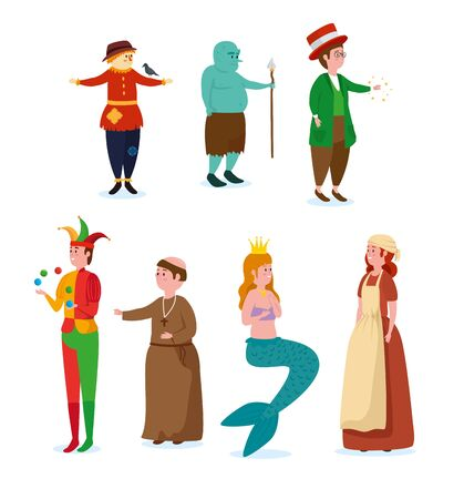 set of cute magic character and mystery creature over white background, vector illustration