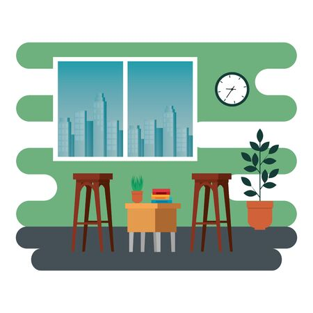 office places scenes with laptop vector illustration design