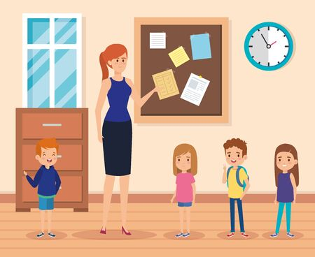woman teacher with kids in the classroom and note board to academic education vector illustration Illustration