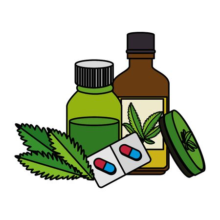 cannabis oinment with bottles and leafs vector illustration design Иллюстрация