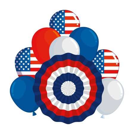 united states of america circular flag and balloons helium vector illustration design
