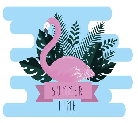 tropical flamish with exotic leaves and riibbon to summer time vector illustration