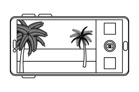 smartphone with summer beach and palms seascape scene vector illustration Stock fotó - 129824602