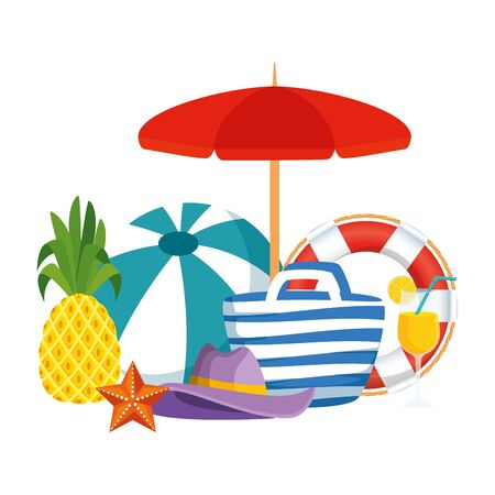 beach bag with balloon and summer icons vector illustration design