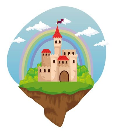 cute medieval castle with flag and rainbow with clouds to magic story, vector illustration
