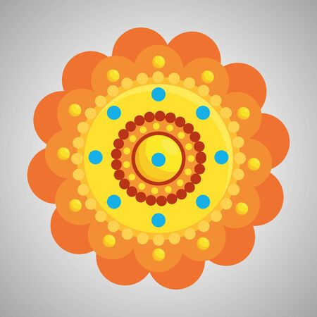 hindu flower with points traditional decoration to event celebration, vector illustration 스톡 콘텐츠 - 129824611