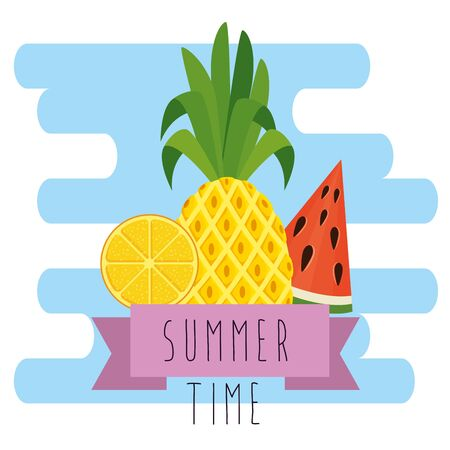 tropical pineapple with watermelon and lemon with ribbon to summer time vector illustration