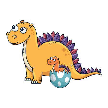 mother diplodocus with baby breaking the shell egg vector illustration design