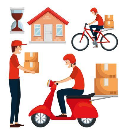 set of delivery distribution transportation service over white background vector illustration