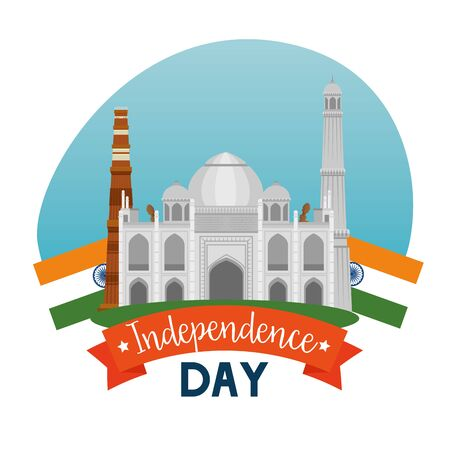 taj mahal with ribbon decoration holiday to independence day vector illustration Ilustração