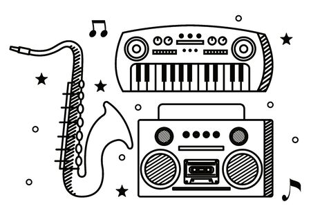 piano with saxophone instrument and art radio to music melody vector illustration Ilustração