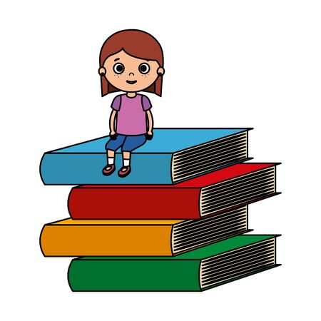 little student girl with pile books character vector illustration design Иллюстрация