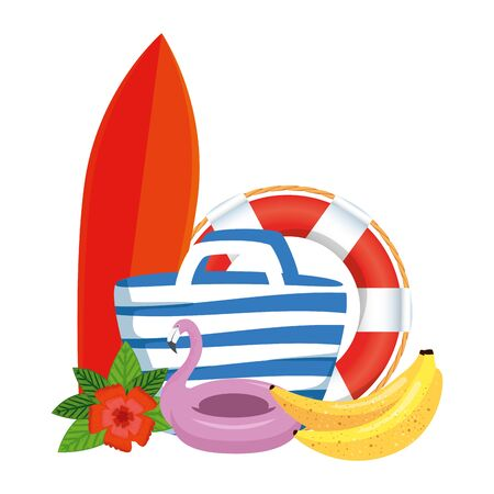 beach bag with surfboard and summer icons vector illustration design  イラスト・ベクター素材