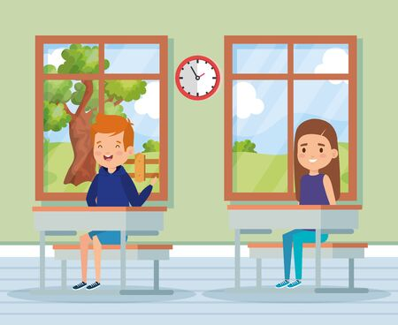 boy and girl childrem education in the classroom with desk and windows vector illustration