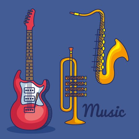 set of electric guitar with trumpet and saxophone instruments over blue background vector illustration