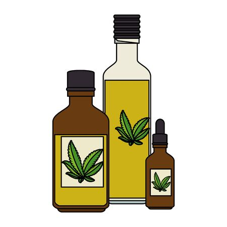 bottles with cannabis extract products vector illustration design Illustration