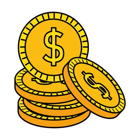 coins cash money dollars icon vector illustration design