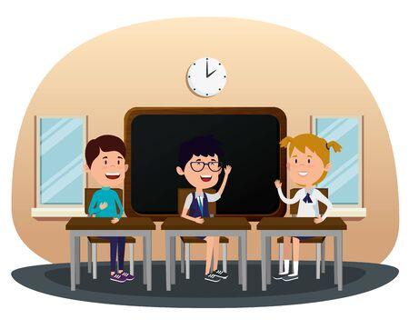 boys and girl students in the classroom with desk and blackboard to back to school vector illustration