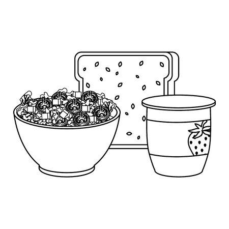 ceramic bowl with vegetables salad and bread vector illustration design 写真素材 - 129824635
