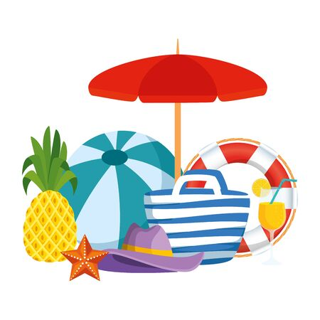 umbrella and balloon beach with summer icons vector illustration design