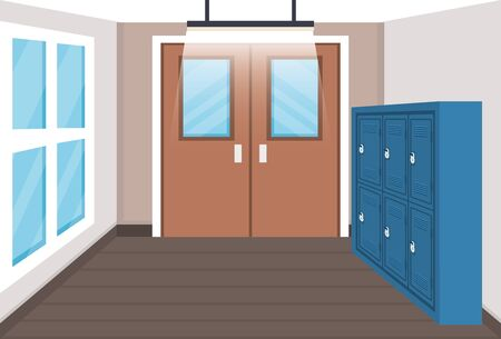 education elementary with lockers and windows with doors to back to school vector illustration