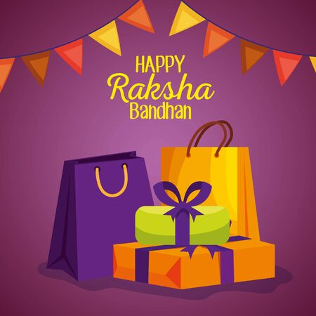 hindu event with party banner and presents gifts to raksha bandhan, vector illustration