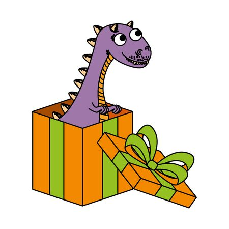 cute tyrannosaurus rex in giftbox present vector illustration design