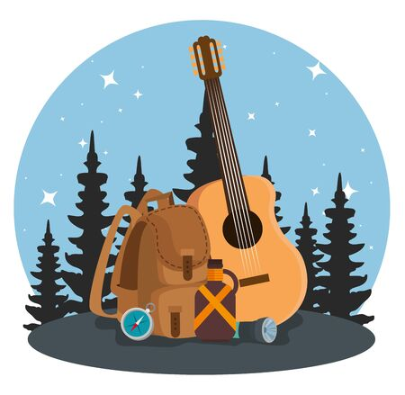nature pines trees landscape with backpack and guitar to summer adventure vector illustration Stock Illustratie