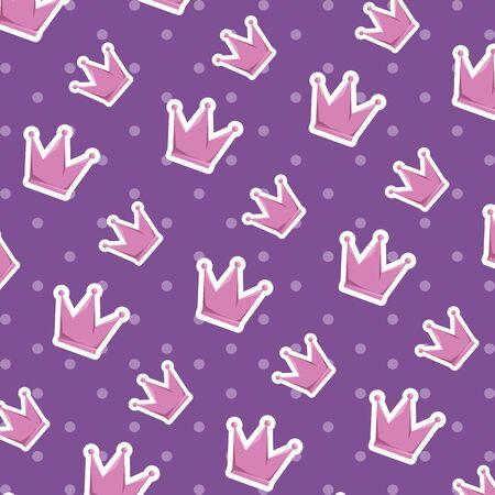cute crown queen pattern background vector illustration design 向量圖像