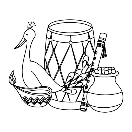 indian drum with candle and peacock vector illustration design Çizim