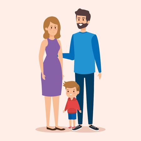 cute woman and man with their son and hairstyle vector illustration